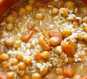 Minestra di riso e ceci