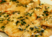 Scaloppine con salsa al basilico